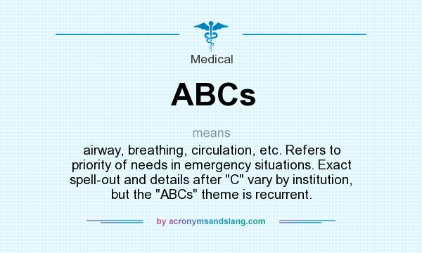 What does ABCs mean? It stands for airway, breathing, circulation, etc. Refers to priority of needs in emergency situations. Exact spell-out and details after C vary by institution, but the ABCs theme is recurrent.