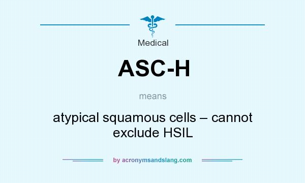 What does ASC-H mean? It stands for atypical squamous cells – cannot exclude HSIL