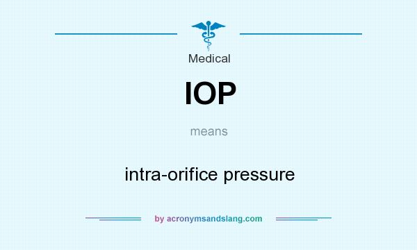 What does IOP mean? It stands for intra-orifice pressure