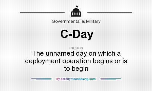 What does C-Day mean? It stands for The unnamed day on which a deployment operation begins or is to begin