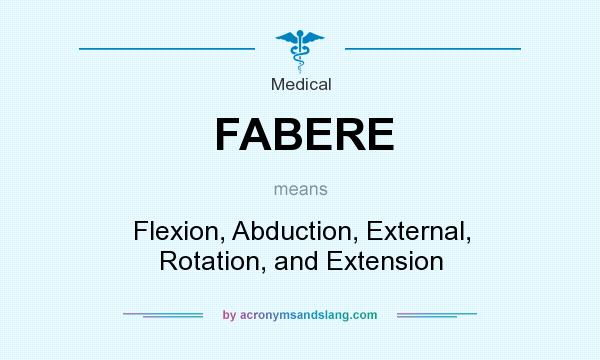 What does FABERE mean? It stands for Flexion, Abduction, External, Rotation, and Extension