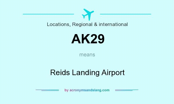 What does AK29 mean? It stands for Reids Landing Airport