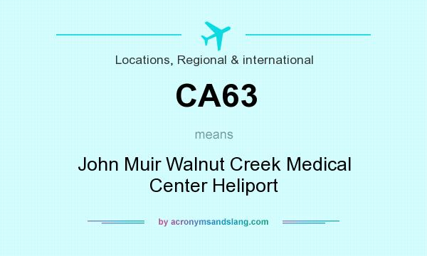 What does CA63 mean? It stands for John Muir Walnut Creek Medical Center Heliport