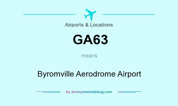 What does GA63 mean? It stands for Byromville Aerodrome Airport