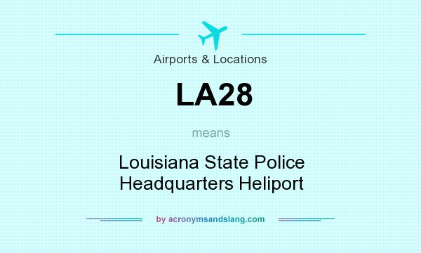 What does LA28 mean? It stands for Louisiana State Police Headquarters Heliport