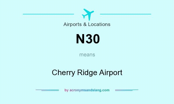 What does N30 mean? It stands for Cherry Ridge Airport
