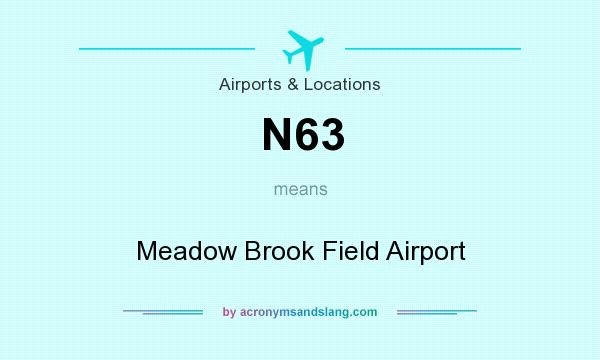 What does N63 mean? It stands for Meadow Brook Field Airport