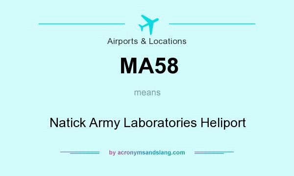 What does MA58 mean? It stands for Natick Army Laboratories Heliport