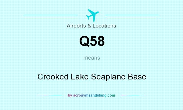 What does Q58 mean? It stands for Crooked Lake Seaplane Base