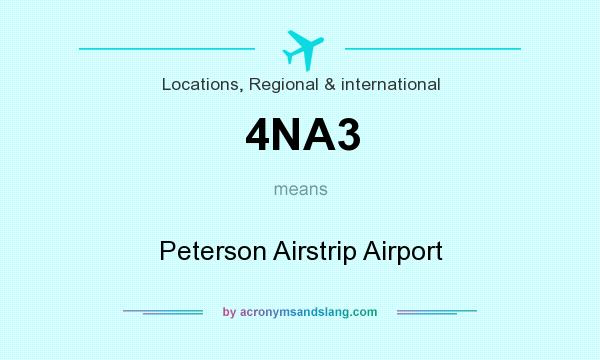 What does 4NA3 mean? It stands for Peterson Airstrip Airport