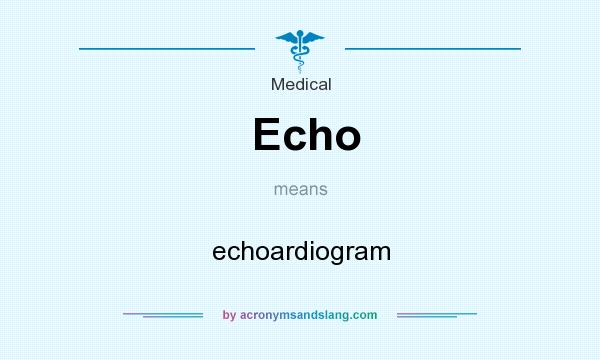 What does Echo mean? It stands for echoardiogram