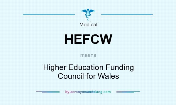 What does HEFCW mean? It stands for Higher Education Funding Council for Wales