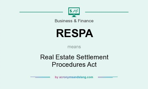 What does RESPA mean? It stands for Real Estate Settlement Procedures Act