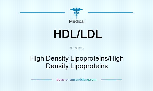 What does HDL/LDL mean? It stands for High Density Lipoproteins/High Density Lipoproteins