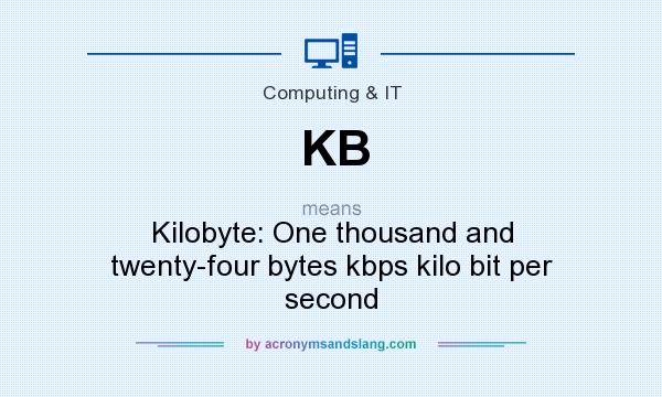 What does KB mean? It stands for Kilobyte: One thousand and twenty-four bytes kbps kilo bit per second
