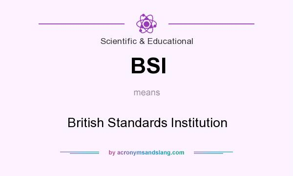 What does BSI mean? It stands for British Standards Institution