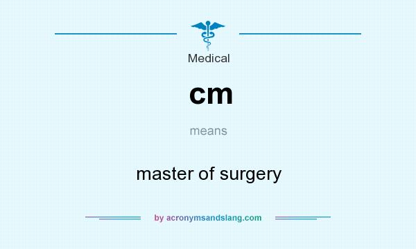 What does cm mean? It stands for master of surgery