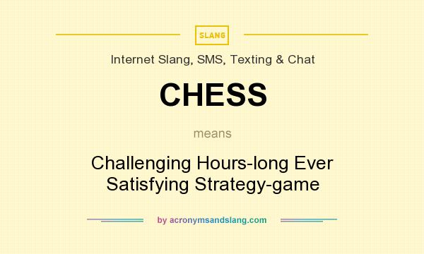 What does CHESS mean? It stands for Challenging Hours-long Ever Satisfying Strategy-game