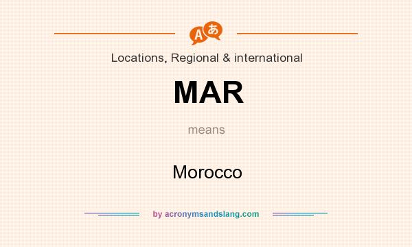 What does MAR mean? It stands for Morocco