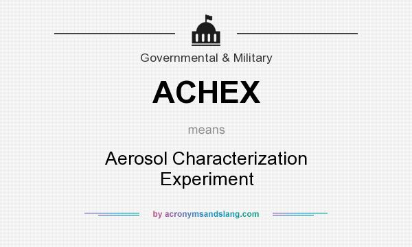 What does ACHEX mean? It stands for Aerosol Characterization Experiment