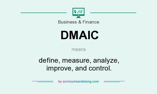 What does DMAIC mean? It stands for define, measure, analyze, improve, and control.