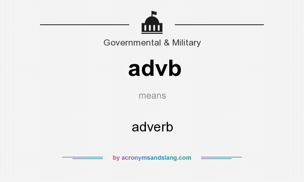 What does advb mean? It stands for adverb