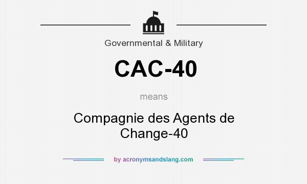 What does CAC-40 mean? It stands for Compagnie des Agents de Change-40