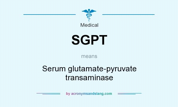 What does SGPT mean? It stands for Serum glutamate-pyruvate transaminase