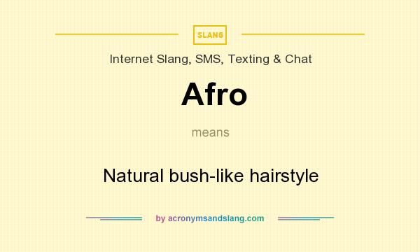 What does Afro mean? It stands for Natural bush-like hairstyle