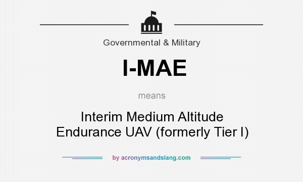 What does I-MAE mean? It stands for Interim Medium Altitude Endurance UAV (formerly Tier I)