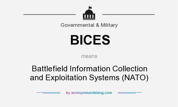 What does BICES mean? It stands for Battlefield Information Collection and Exploitation Systems (NATO)