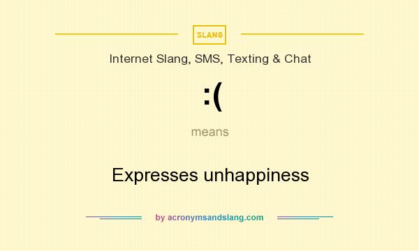 What does :( mean? It stands for Expresses unhappiness