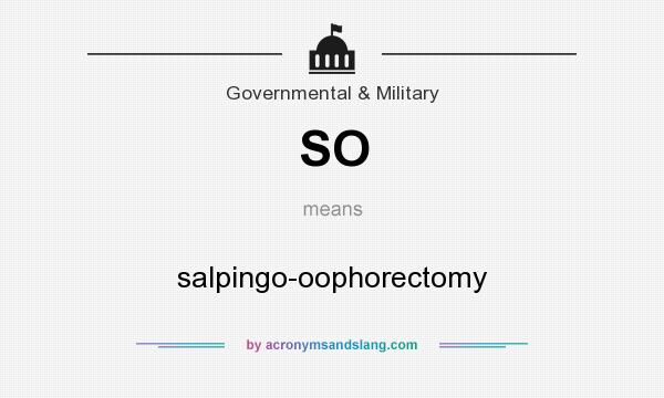 What does SO mean? It stands for salpingo-oophorectomy