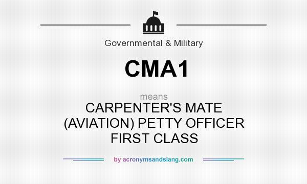 What does CMA1 mean? It stands for CARPENTER`S MATE (AVIATION) PETTY OFFICER FIRST CLASS