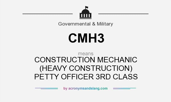 What does CMH3 mean? It stands for CONSTRUCTION MECHANIC (HEAVY CONSTRUCTION) PETTY OFFICER 3RD CLASS