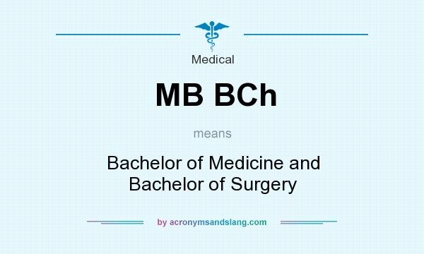What does MB BCh mean? It stands for Bachelor of Medicine and Bachelor of Surgery
