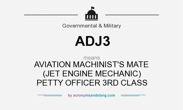 What does ADJ3 mean? It stands for AVIATION MACHINIST`S MATE (JET ENGINE MECHANIC) PETTY OFFICER 3RD CLASS