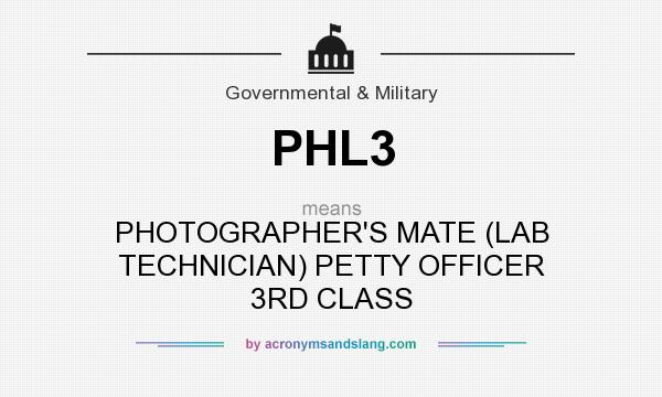 What does PHL3 mean? It stands for PHOTOGRAPHER`S MATE (LAB TECHNICIAN) PETTY OFFICER 3RD CLASS