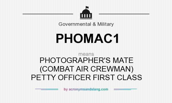 What does PHOMAC1 mean? It stands for PHOTOGRAPHER`S MATE (COMBAT AIR CREWMAN) PETTY OFFICER FIRST CLASS