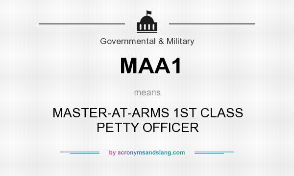 What does MAA1 mean? It stands for MASTER-AT-ARMS 1ST CLASS PETTY OFFICER