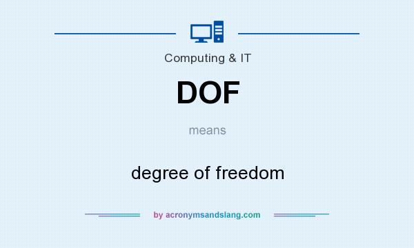 What does DOF mean? It stands for degree of freedom
