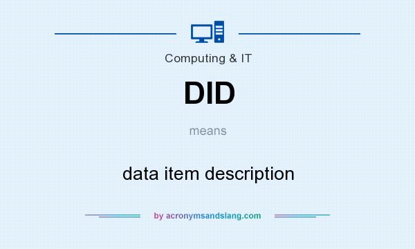 What does DID mean? It stands for data item description