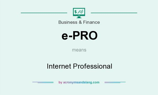What does e-PRO mean? It stands for Internet Professional