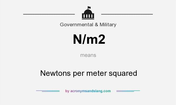What does N/m2 mean? It stands for Newtons per meter squared