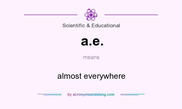What does a.e. mean? It stands for almost everywhere