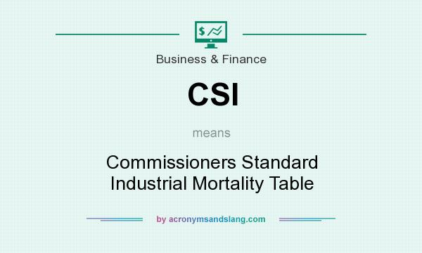 What does CSI mean? It stands for Commissioners Standard Industrial Mortality Table