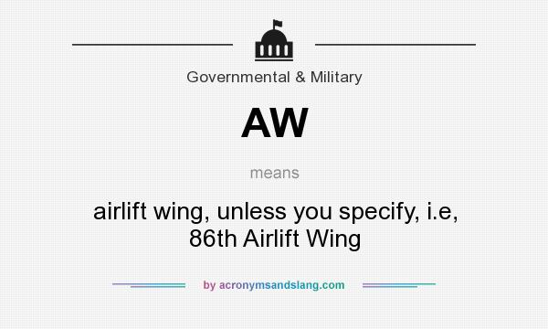 What does AW mean? It stands for airlift wing, unless you specify, i.e, 86th Airlift Wing