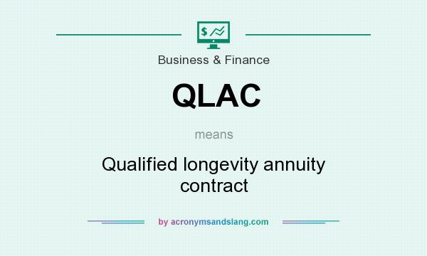 What does QLAC mean? It stands for Qualified longevity annuity contract