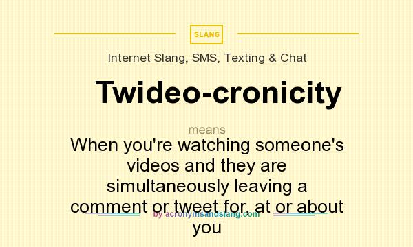 What does Twideo-cronicity mean? It stands for When you`re watching someone`s videos and they are simultaneously leaving a comment or tweet for, at or about you