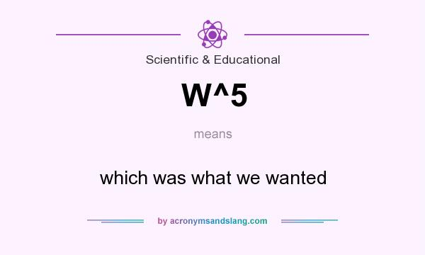 What does W^5 mean? It stands for which was what we wanted